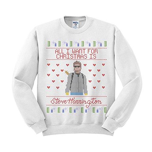 TeesAndTankYou Steve Harrington Christmas Sweatshirt Unisex Medium (Fleece Screen Print Sweatshirt)