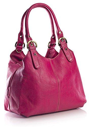 BHBS Bolso Mediano para Dama con Correa Larga para Hombro 33x26x13 cm (LxAxP) Pink - Stitch Detail