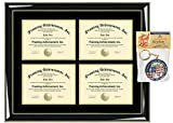Four Degree College Graduation Frame Double Matted 4 Quadruple License Triple Diploma Framing University Document Glossy Majestik Black with Gold Accents Graduate Gift Certificate Plaque
