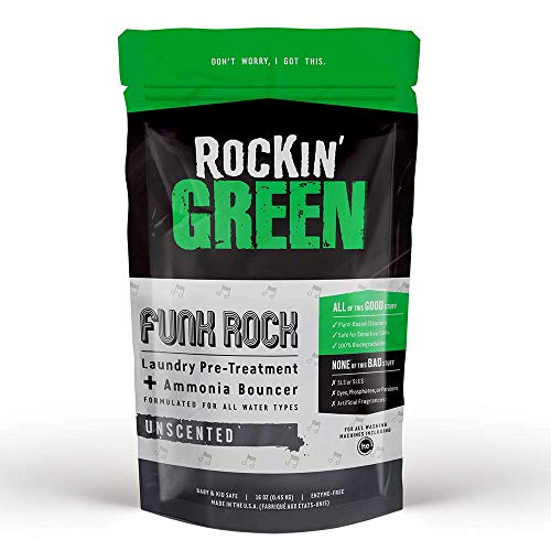 Rockin' Green Funk Rock Ammonia Bouncer - Natural Laundry Pre-Treatment Powder - Non-Toxic Bouncer for Pre-Wash or Pre-Soaking Athletic Gear, Cloth Diapers, and Other Funky Smelling Laundry (16 oz.)
