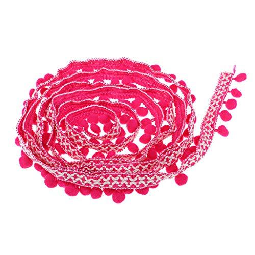 3 Yards Pom Pom Ball Tassel Fringe Ribbon Trim for Sewing on Bag Hat 32mm | Color - Rose red