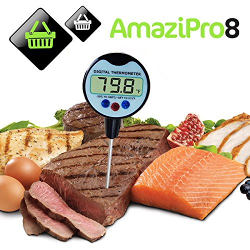 AmaziPro8 Meat Thermometer - 8 Downloadable FREE Recipe Books-Large Digital Readout, FREE Cover and Battery included, Quick-Read, Long Stainless Probe, Convenient Pocket Sized, Dual Temp C/F, Multi-Purpose Functionality, Low Maintenance, Auto-Shutoff, Wat