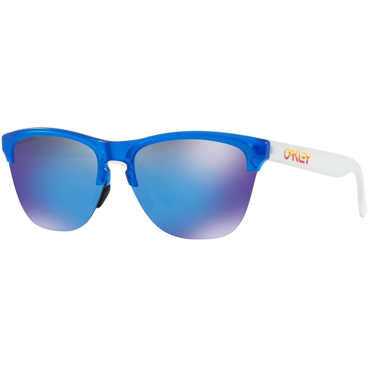 Oakley Men's OO9374 Frogskins Lite Round Sunglasses, Matte Translucent Sapphire/Prizm Sapphire, 63 mm by Oakley