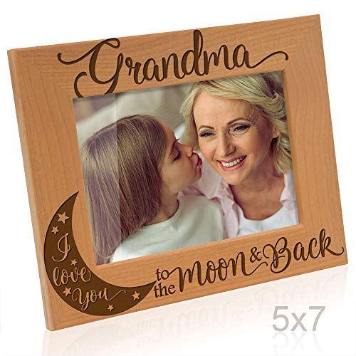 Kate Posh - Grandma I Love You to The Moon and Back Engraved Natural Wood Picture Frame, for Grandma, Birthday Gifts for Grandmother, Best Grandma Ever (5x7-Horizontal)