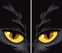 WOWindow Posters Yellow-eyed Cat Halloween Window Decoration Two 34.5x60 Backlit Posters