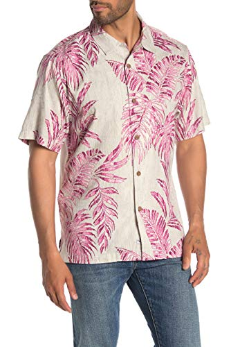 Tommy Bahama Garden of Hope and Courage Silk Blend Camp Shirt (Color: Phlox, Size XXL)
