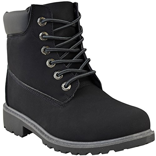 Heelberry Hiking Comfy Walking Shoes Up Grip Combat Nubuck Military Army Lace Ladies Boots Black Womens 1rqZp1
