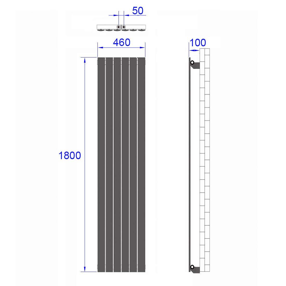 Heizk/örper Design-Heizk/örper Ovale Form Wei/ß Vertikal 1600x480mm Heizung 805W Mittelanschluss Einreihig