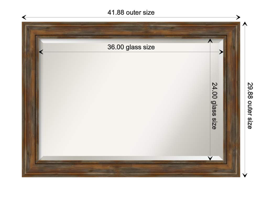 Amanti Art Framed Mirrors for Wall | Alexandria Rustic Brown Mirror for Wall | Solid Wood Wall Mirrors | Large Wall Mirror 41.88 x 29.88 by Amanti Art
