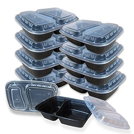 10 unidades] 2 compartimento sin BPA comida Prep recipientes (caja ...