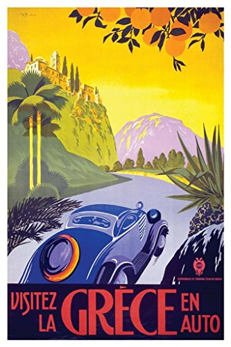 Visit Greece by Car Vintage Travel Art Print Poster 24x36 inch