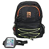 Get-Go Package Lightweight Waterproof Packable Durable Backpack + Armband (5.5-inch) + Rain Cover for Travel Hiking Camping Daypack Handy Outdoor