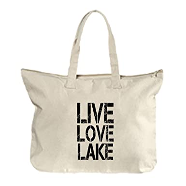 Amazon.com: Live Love Lake lona playa cierre bolso bolsa ...