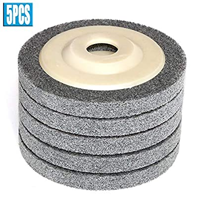 "FPPO 4.5"" x 7/8"" 5Pcs Nylon Fiber Polishing Wheel Non Woven Abrasive Flap disc Grinding Polishing Wheel for Metal Ceramics Marble Wood Craft polishing"