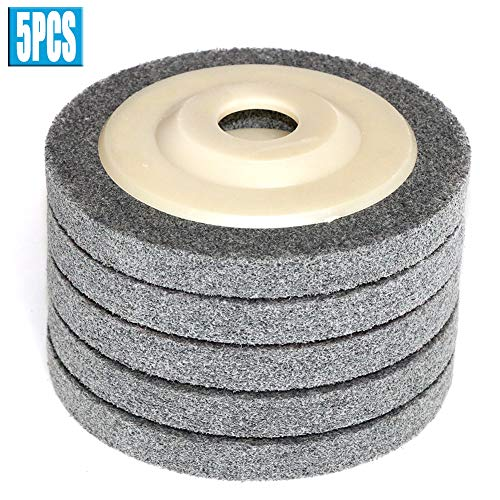 FPPO 4.5 x 7/8 5Pcs Nylon Fiber Polishing Wheel Non Woven Abrasive Flap disc Grinding Polishing Wheel for Metal Ceramics Marble Wood Craft polishing