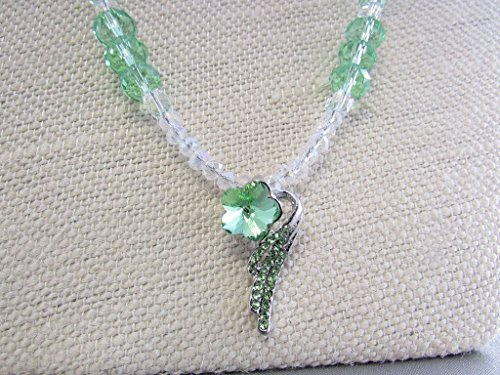 Austrian Green Crystal Wing Pendant, Green Crystal Rondelle, Faceted Glass Necklace