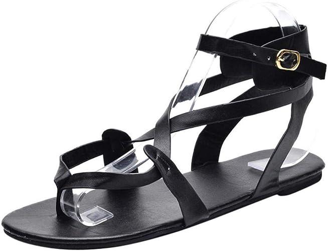 Damen Sandalen Goosun Sommer Mode Cross Strap Flat Ankle Roman Casual Sandals Shoes Flach Zehentrenner Flach Sommerschuhe Outdoor Fischgrätenmuster