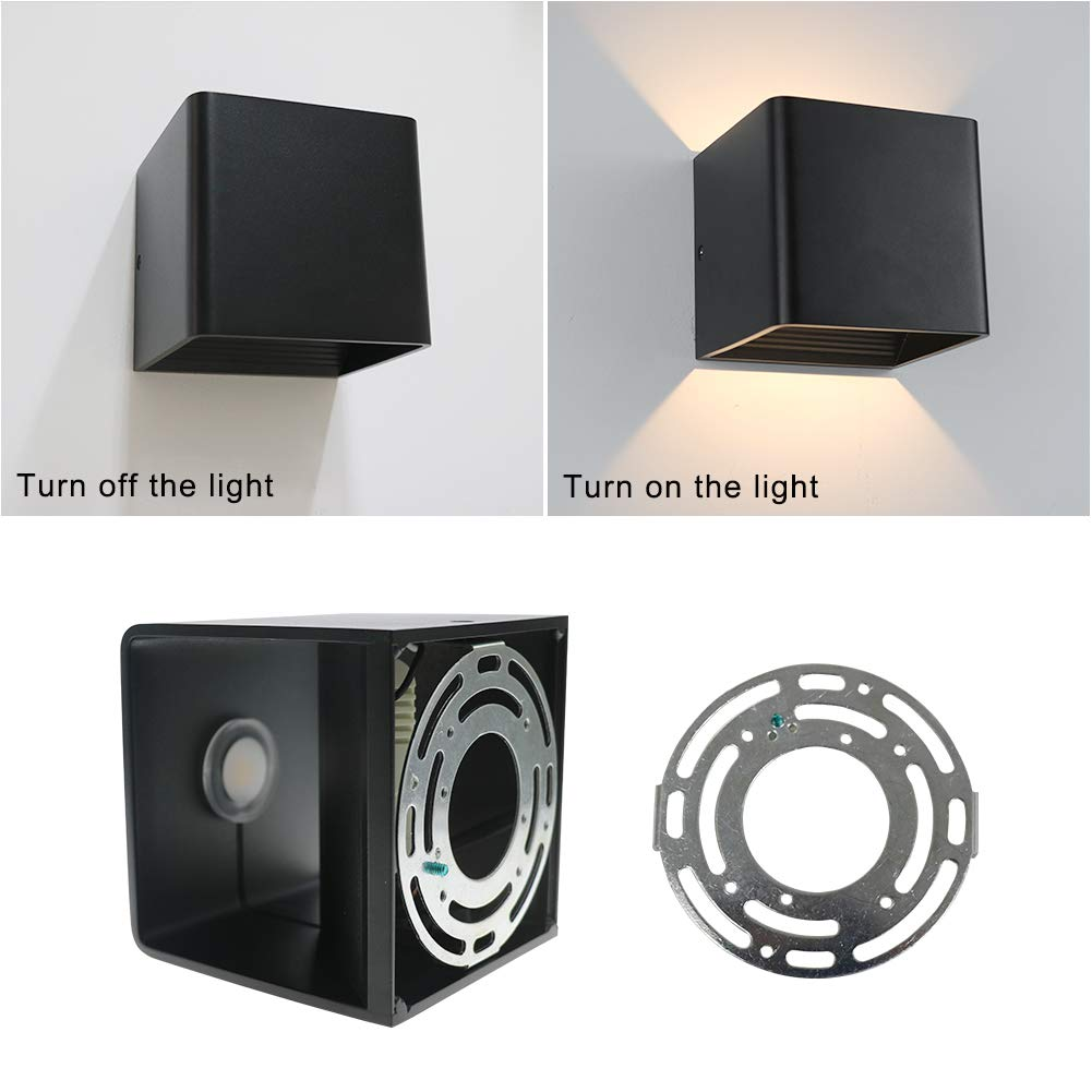 Aipsun Square Matte 10W LED COB Modern Up and Down Wall Light Lamp Indoor Wall Mount Sconce Pathway Staircase Bedroom Reading Living Room Balcony Home Lighting Fixture(Black White 4000K)