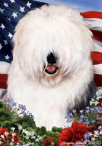 Old English SheepDog Breed Patriotic House Flag 28 x 40 ()