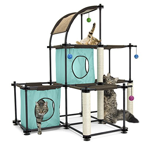 Kitty City Garra de acero Mega Kit muebles para gato, condominio para gato Duplex con juguete, Mega Kit-Green