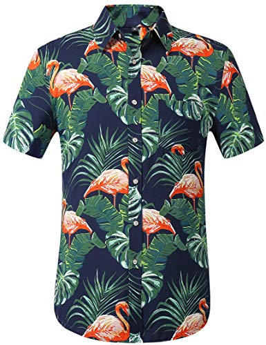 Leisurely Pace Men's Flower Casual Button Down Short Sleeve Hawaiian Shirt (Navyflamingos326, Large)