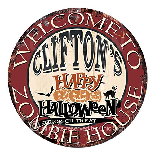 Welcome to The Clifton'S Happy Halloween Zombie House Chic Tin Sign Rustic Shabby Vintage Style Retro Kitchen Bar Pub Coffee Shop Man cave Decor Gift Ideas