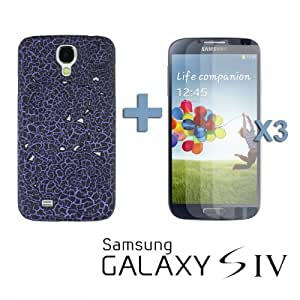 OnlineBestDigital - Black Flower Pattern Plastic Carving Case for Samsung Galaxy S4 IV I9500 / I9505 - Purple with 3 Screen Protectors
