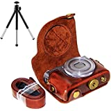 First2savvv XJPT-G9X-10 Dark Brown full body Precise Fit PU leather digital camera case bag cover with should strap for Canon PowerShot G9X G9 X + mini tripod