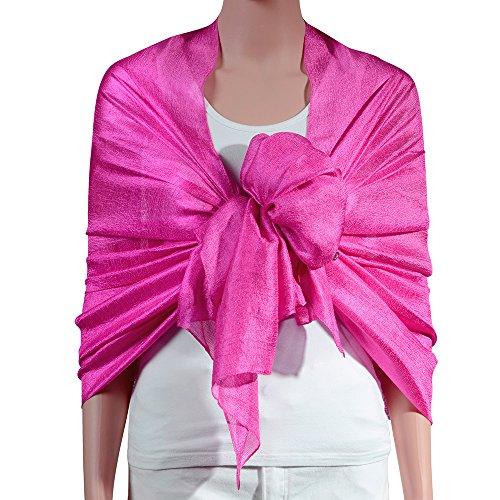 71c249f6e72d5 QBSM Womens Deep Pink Large Solid Soft Bridal Evening Wedding Scarf Shawl  Wrap