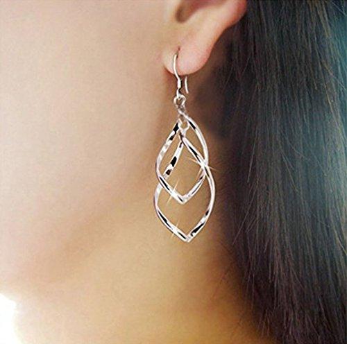 WensLTD Clearance! 1 Pairs Women Girls Cute Lady Crystal Rhinestone Earrings Elegant Jewelry (Silver-1)