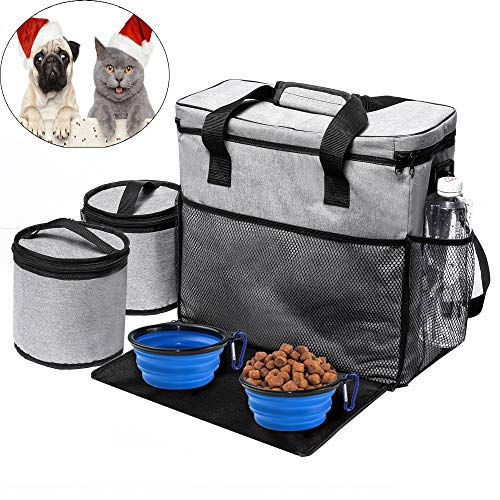 Qichebox Dogs Airline Approved Weekend Travel Bag Set for Dog's Stuff- Stores All Your Dog Accessories- Includes Travel…