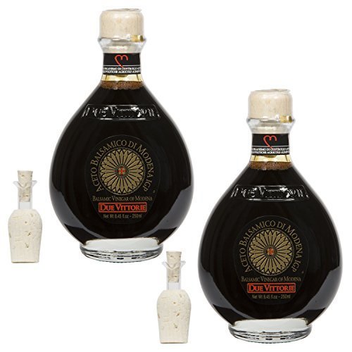 Due Vittorie Oro Gold Balsamic Vinegar of Modena. Highest score from The Consortium of Modena With Cork Pourer - 250ml (2 pack) (Best Aged Balsamic Vinegar)