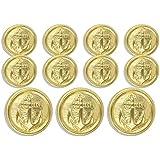 "MetalBlazerButtons.com Brand - GOLD ANCHOR (On Lines) - (11-Button, Single Breasted) METAL BLAZER BUTTON SET - 7/8"" & 5/8"" BUTTONS"