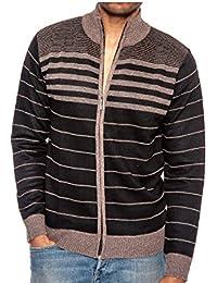 Men's Zip Up Striped Turtleneck Long Sleeve Sweater Business Style Cardigan
