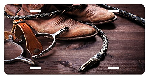 Western License Plate by Ambesonne, Authentic Old Leather Boots and Spurs Rustic Rodeo Equipment USA Style Art Picture Print, High Gloss Aluminum Novelty Plate, 5.88 L X 11.88 W Inches, Brown Rustic Spur