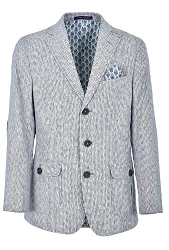 JAMES MORGAN Boys Formal Blazer with Velvet Navy Blue Patches Suit Jacket, Gray/Blue, -