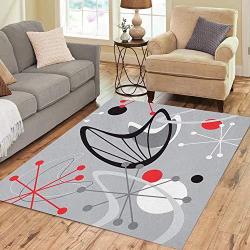 Pinbeam Area Rug Gray Mid Century Modern 1950 Vintage Retro Atomic Home Decor Floor Rug 5' x 7' Carpet ()