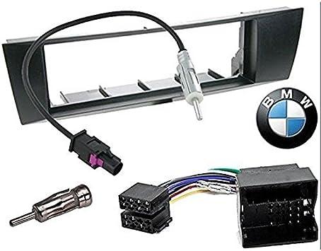 Sound-way Kit Montaje Autoradio, Marco 1 DIN Radio para Coche, Cable Adaptador Conector ISO, Adaptador Antena, Compatible con BMW 1, BMW 3, BMW X1, ...