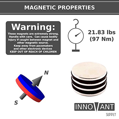 INNOVANT 4 Pack Neodymium Disc Magnets 1 1/2'' d x 1/8'' h N45 Grade Strong Permanent Rare Earth Magnets - Best for DIY Arts & Crafts Projects, School Classroom Science Project & Office or Work Supply by Innovant Supply (Image #2)