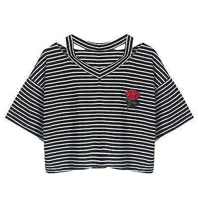 Handyulong Women Shirts Short Sleeve Casual Stripe Rose Print Crop Tunic T-Shirt Blouse Tops For Teen Girls