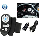 Eximtrade Car Steering Wheel Bluetooth Remote Control Handsfree Microphone Speaker for Apple iPhone 4/4s/5/5s/6/6s/6 Plus/6s Plus, Samsung Galaxy S4/S5/S6/S6 Edge/S6 Edge Plus/Note 3/Note 4/Note 5, HTC One, Motorola, Sony Xperia, Other Smartphones and tablets