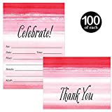Pink Invites ( 100 ) & Matching Thank You Cards ( 100 ) Set with Envelopes Celebrate All Occasions 30th Birthday Graduation Wedding Fill-in Invitations & Folded Thank You Notes Excellent Value Pair