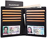 Multi-Purpose Travel Wallet Credit Card Holder Passport Cover 2 ID Window Genuine Leather RFID Blocking - Black