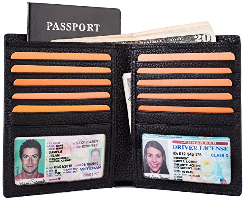 - Multi-Purpose Travel Wallet Credit Card Holder Passport Cover 2 ID Window Genuine Leather RFID Blocking - Black
