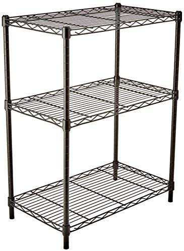 AmazonFundamentals 3-Shelf Adjustable, Heavy Duty Storage Shelving Unit (250 lbs loading capability in keeping with shelf), Steel Organizer Wire Rack, Black (23.3L x 13.4W x 30H)