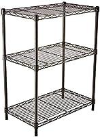 AmazonBasics 3-Shelf Adjustable, Heavy Duty Storage Shelving Unit, Steel Organizer Wire Rack, Black