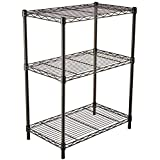 AmazonBasics 3-Shelf Shelving Storage Unit, Metal Organizer Wire Rack, Black (23.2L x 13.4W x 30H)