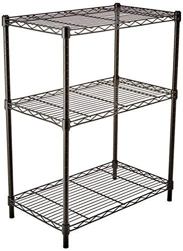 AmazonBasics 3-Shelf Shelving Storage Unit, Metal Organizer Wire Rack, Black (23.2L x 13.4W x 30H)