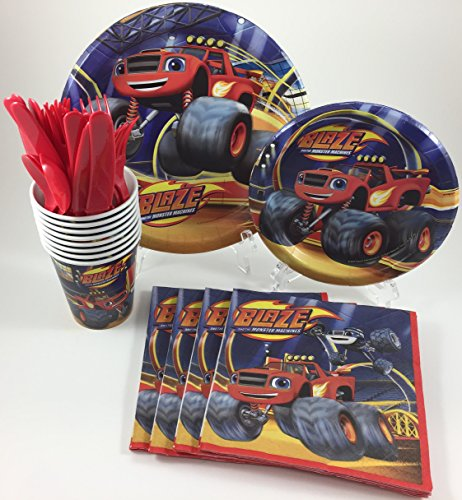 BashBox Blaze and the Monster Machines Birthday Party Supplies Pack Including Cake & Lunch Plates, Cutlery, Cups & Napkins for 8 Guests