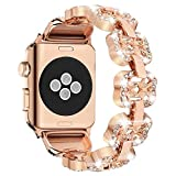 for Apple Watch Band, Elegant iWatch Band Replacement with Bling Durable Stainless Metal Adjustable Folding Clasp Link for Men Women Girls Females Sport Nike Hermes - Junwei 38mm 40mm Rose Gold